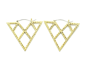 Handmade Brass Triangles With Diamond Cut Outs Hoop Earrings