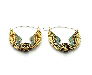Handmade Brass Winged Skull With Crushed Turquoise Accents Hoop Earrings