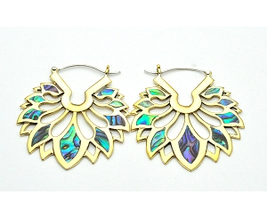 Handmade Brass Lotus Design With Abalone Inlay Hoop Earrings