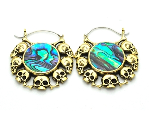 Handmade Brass Skull Rimmed Abalone Inlay Hoop Earrings