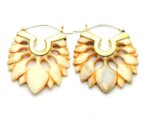 Handmade Mother Of Pearl Floral Design Hoop Earrings