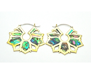 Handmade Brass Lotus Design With Abalone Inlay Style 2 Hoop Earrings