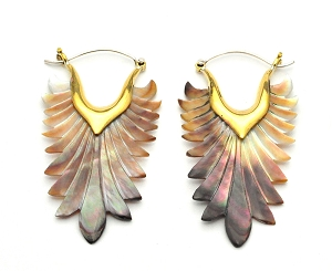 Handmade Mother Of Pearl Feather Hoop Earrings