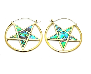 Handmade Brass Pentagram With Abalone Inlay Hoop Earrings