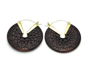 Handmade Sono Wood Tribal Disc Hoop Earrings