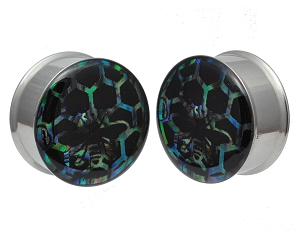 ***Made to Order*** Embedded Abalone Honeycomb Resin Plugs