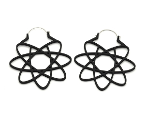 Black Atom Geometry Ear Hoops