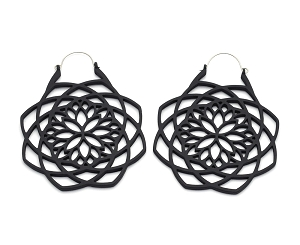 Black Mandala Web Ear Hoops