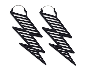 Black Lightning Bolt Ear Hoops