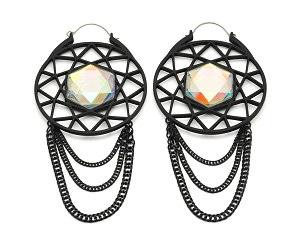 Black Web Gem Ear Hoops with Chains