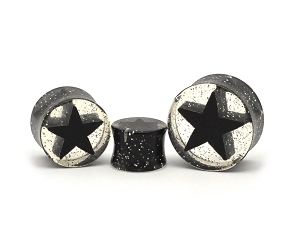Acrylic Black Star Glitter Double Flare Plugs