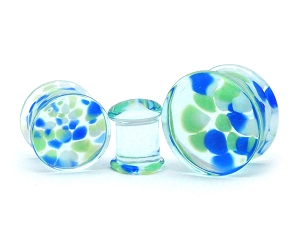 Blue and Green Pebble Glass Plugs