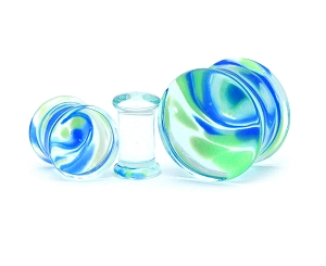 Blue and Green Swirl Glass Plugs