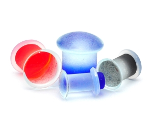 Glass Single Flared Plugs with Clear Silicone O-Ring