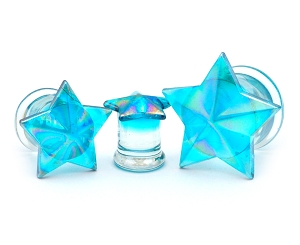 Blue Glass Double Flared Star Plugs