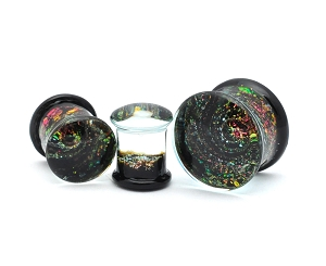 Double Flared Glass Sparkle Galaxy Plugs