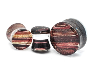 Double Flared Glass Saddle Plugs With Sparkling Stripes