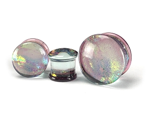 Purple Dichroic Glass Plugs
