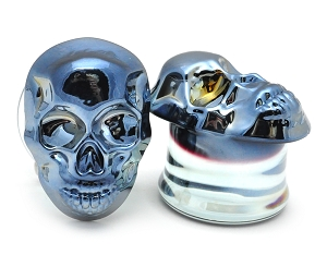 Blue Gunmetal Skull Glass Plugs