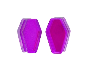Purple/Aqua Iridescent Double Sided Coffin Shaped Double Flare Plugs