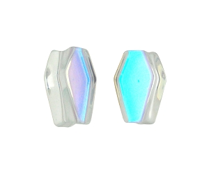 Aurora Borealis Iridescent Glass Coffin Shaped Plugs