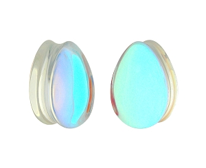 Iridescent Aurora Borealis Glass Teardrop Plugs
