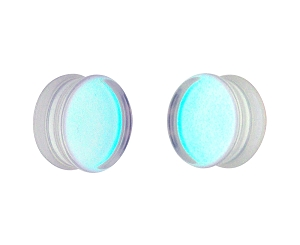 Iridescent Aurora Borealis Glass Double Flare Plugs