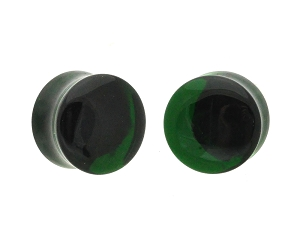 Emerald Green Glass Double Flare Plugs