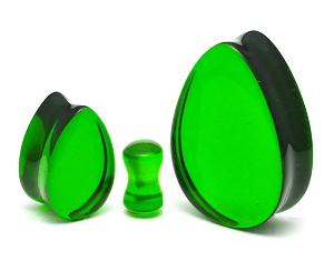 Emerald Green Glass Teardrop Double Flare Plugs