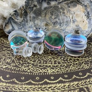 Aurora Borealis Single Flare Glass Plugs