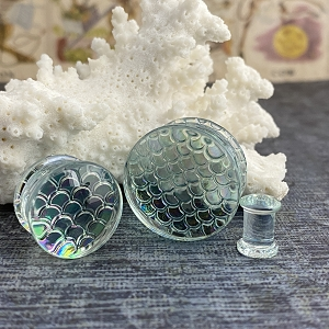 Iridescent Mermaid Glass Double Flare Plugs