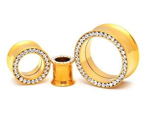 316L Gold Stainless Steel Tunnels with CZ Rim