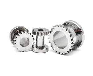 316L  Stainless Steel Screw on Tunnels with Saw Blade Front