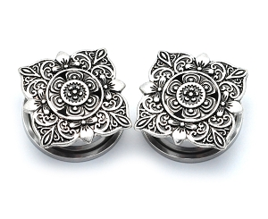 316L Stainless Steel Screw on Tunnels with Antique Silver Square Floral Filigree Top