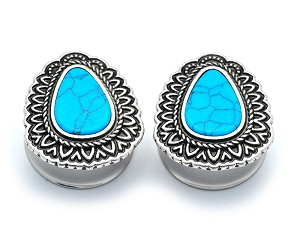 316L Stainless Steel Tunnels with Turquoise Centered Tear Drop Top