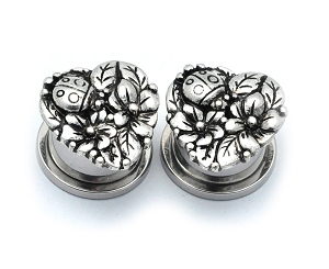316L Stainless Steel Tunnels with Heart Flowers and Ladybug Top