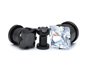 316L Black Steel Square Prong Gem Set