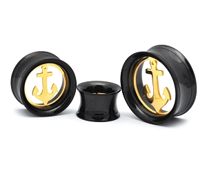 316L Black Steel Screw On Tunnels With Removable Gold Anchors