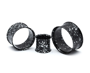 316L Steel Metallic Black and White Splatter Double Flare Tunnels