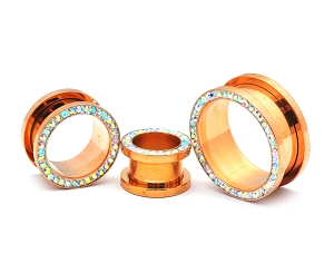 316L Surgical Steel Rose Gold Screw On Tunnels With AB Crystals Set Around Rim