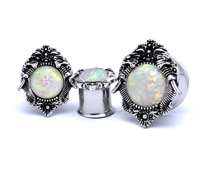 316L Stainless Steel Plugs with Elephant Top and Synthetic Opal