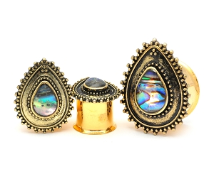 316L Gold Stainless Steel Plugs With Teardrop and Abalone Inlay