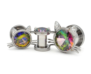 316L Steel Screw on Plugs with Cat Head and Rainbow Gem