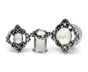 316L Surgical Steel Double Flared Tunnels With Oval Opalite Stone Set Filigree Square Top