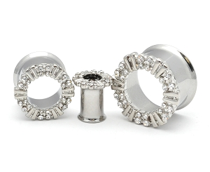 316L Surgical Steel Double Flared Tunnel with CZ Rimmed Top