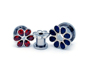 316L Surgical Steel Screw On Plugs with CZ Flower Petals