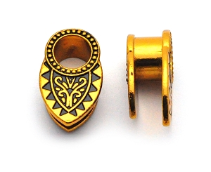 316L Gold Steel Double Flared Ear Spreader Plugs with Copper Tribal Filigree