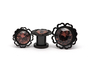 316L Black Steel Screw on Plugs with Amber Gem and Half Heart Edged Top