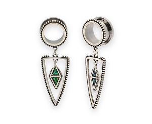 316L Steel Screw on Tunnels with Abalone Spear Dangle