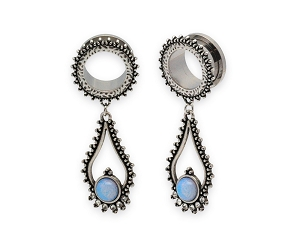 316L Steel Screw on Plugs with Tribal Opalite Stone Dangle Style 2